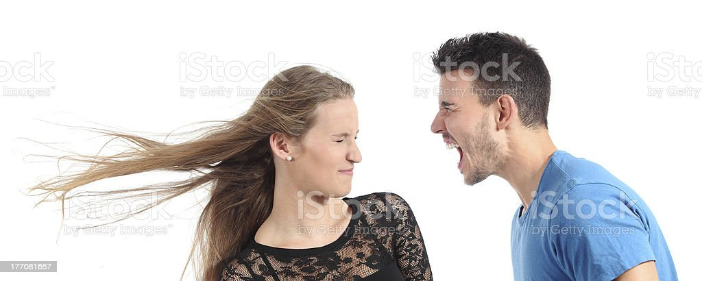 Man shouting to a woman royalty-free stock photo
