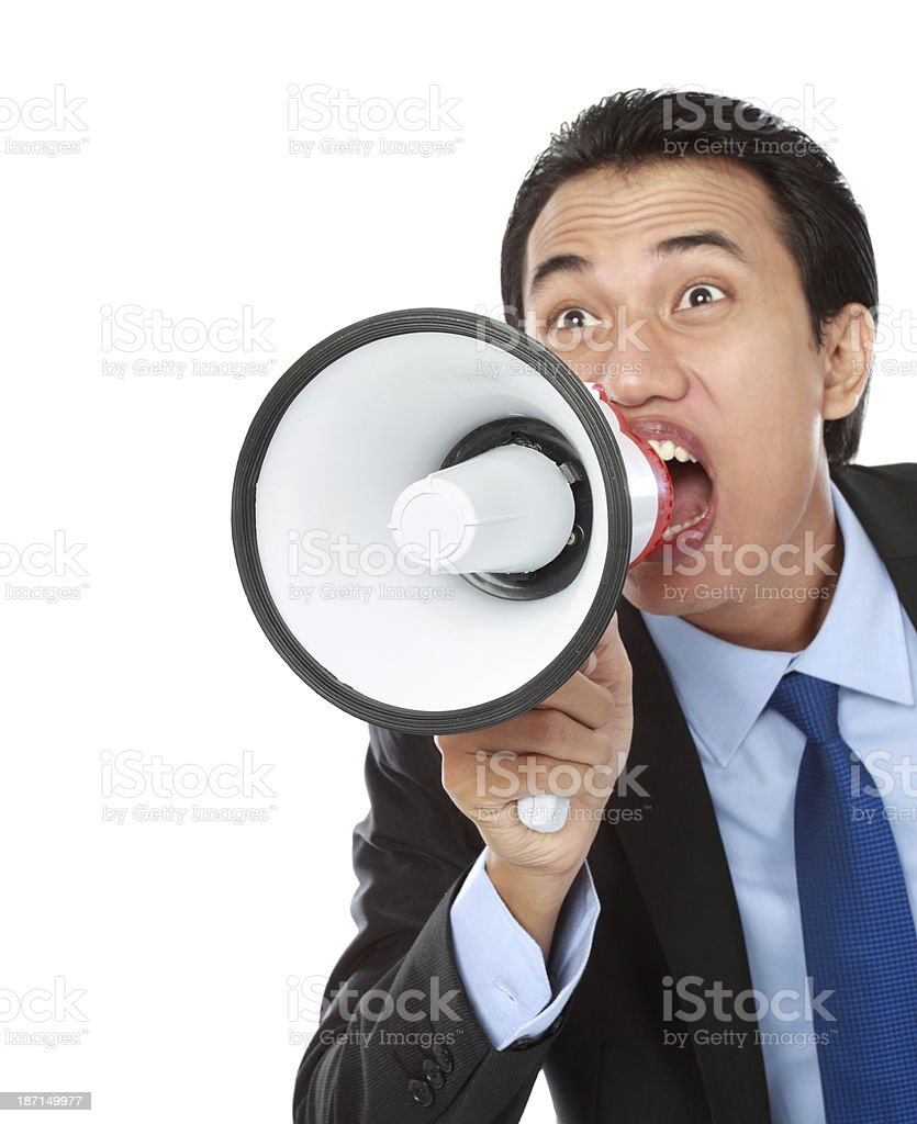 man shouting using megaphone royalty-free stock photo