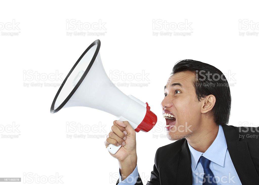man shouting using megaphone royalty-free stock photo