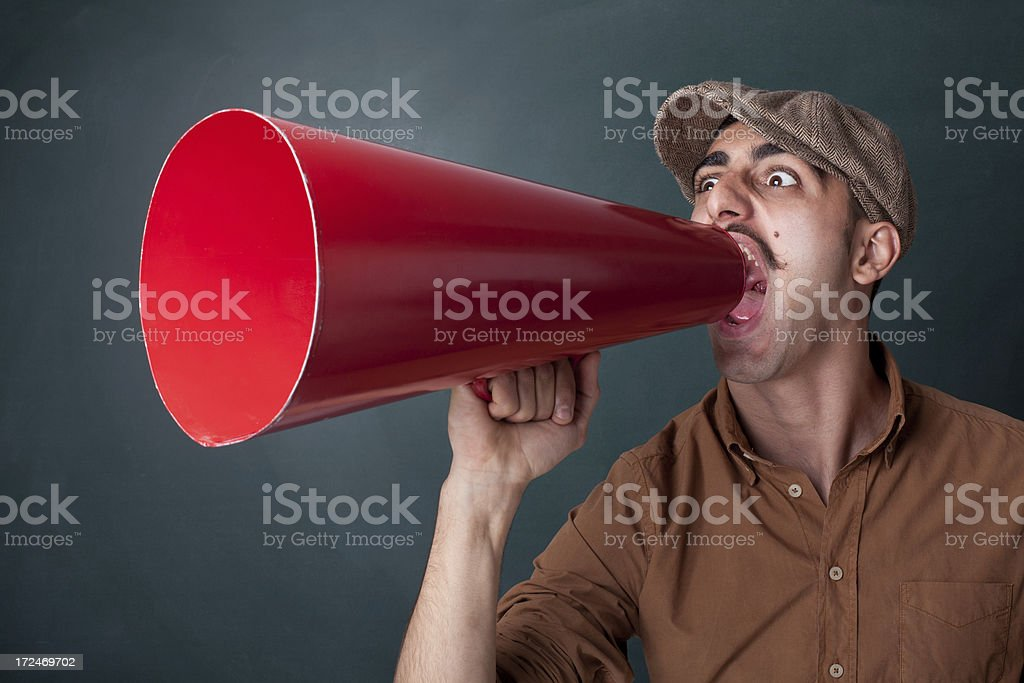 Man Shouting With Megaphone royalty-free stock photo
