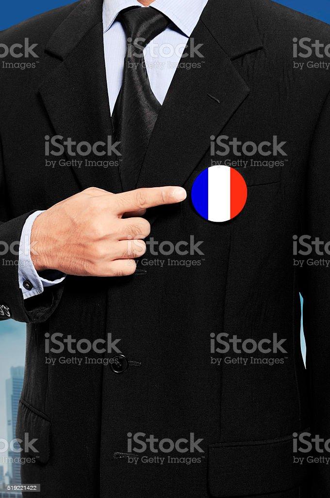 Man Show French Flag Pin stock photo