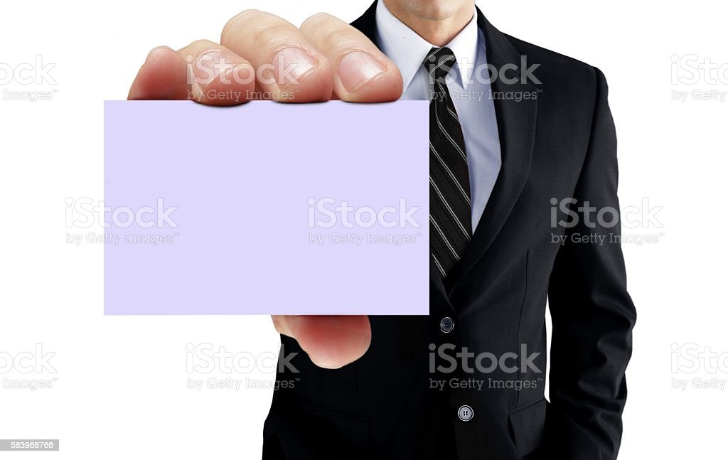 Man showing blank business card stock photo