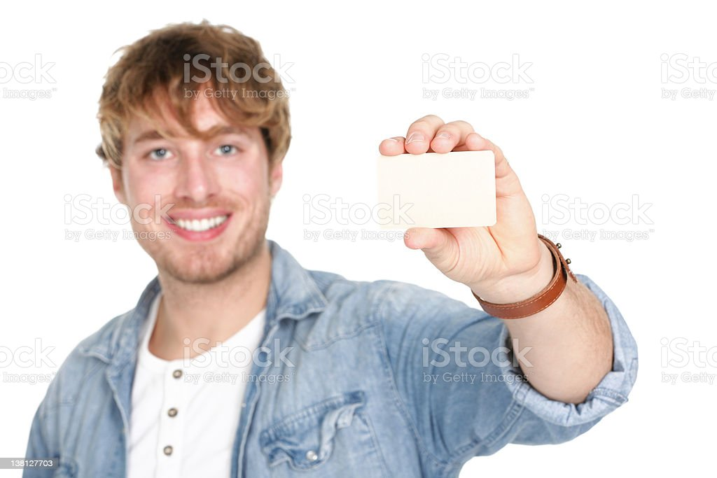 Man showing business card sign royalty-free stock photo