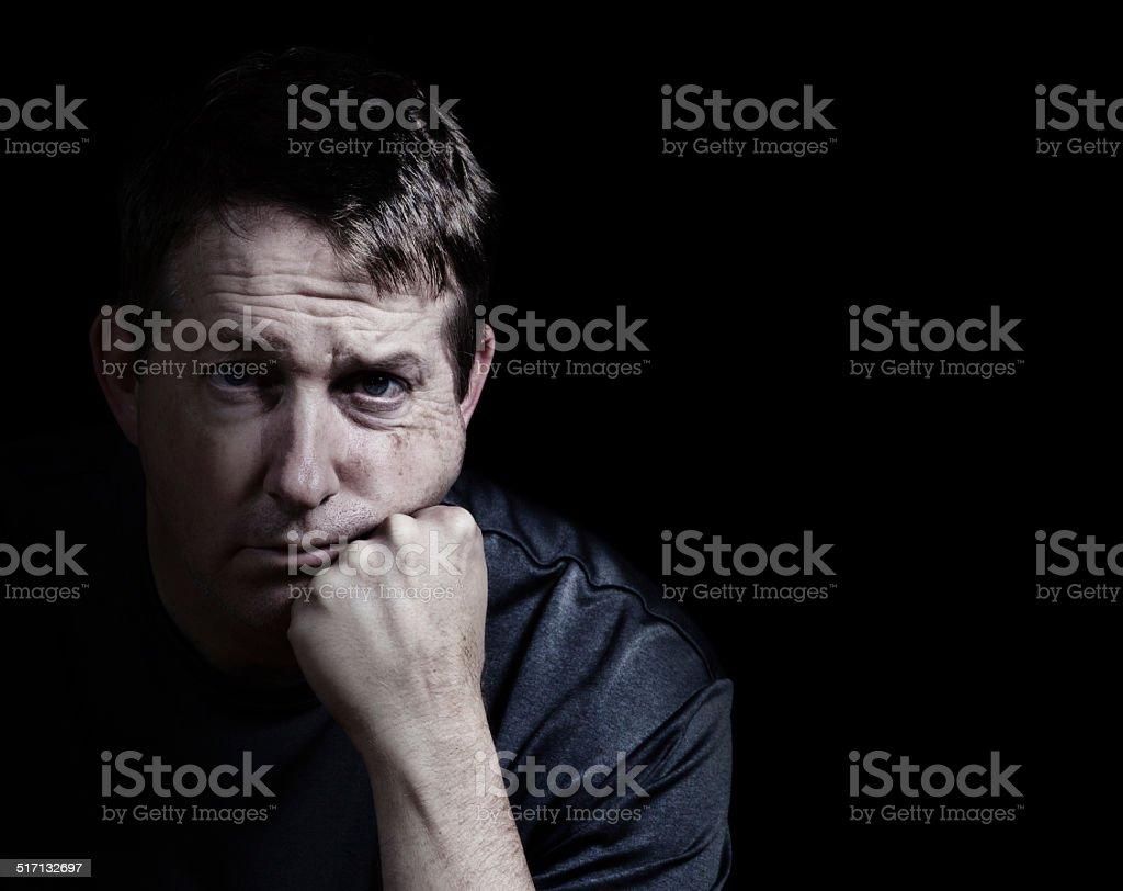 Man showing depression stock photo