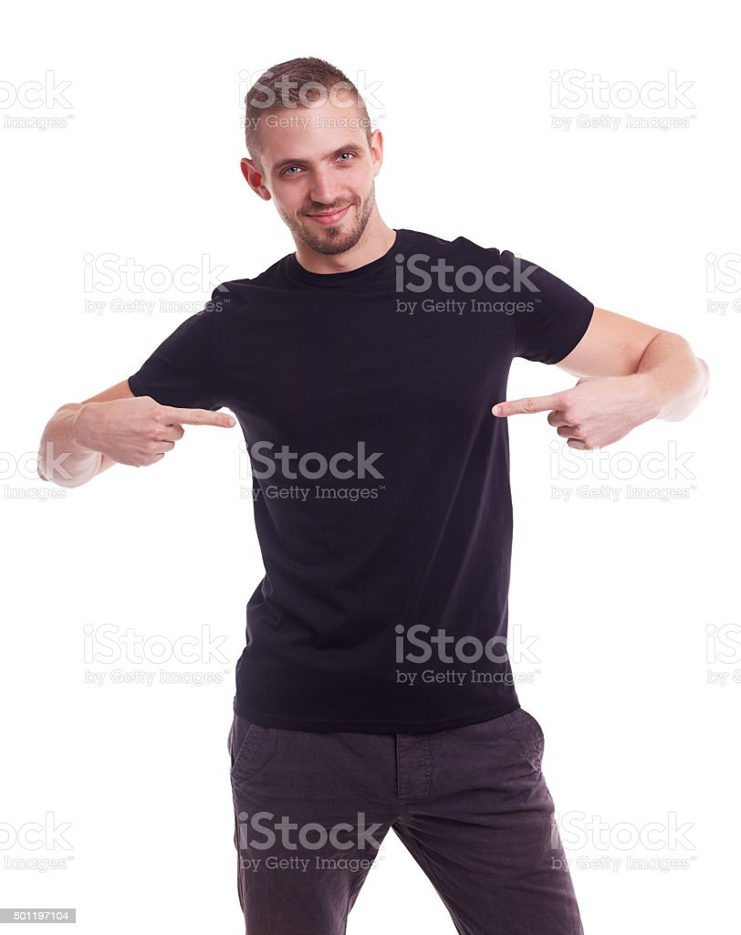 Man showing empty copyspace stock photo