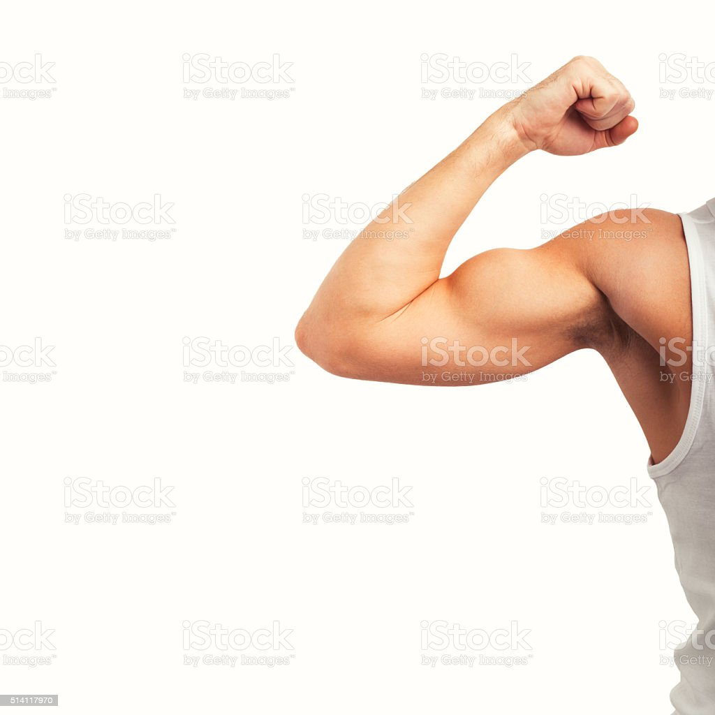 Man showing his biceps stock photo