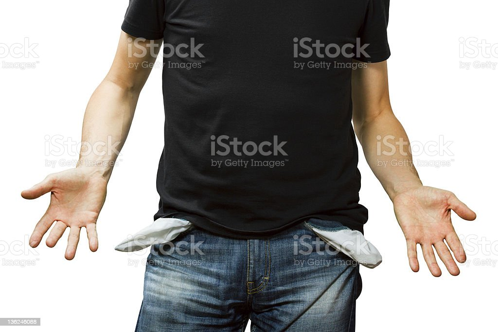 man showing his empty pocket, no money stock photo