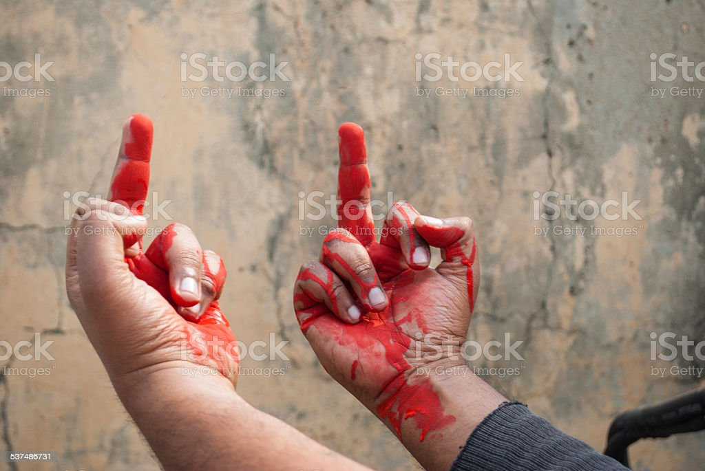 man showing middle finger stock photo