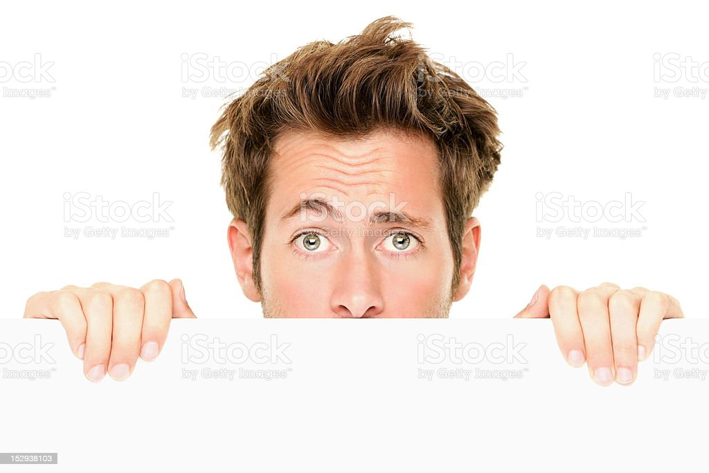 Man showing sign surprised stock photo