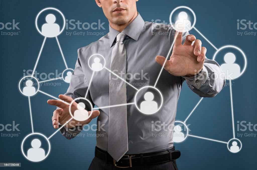 A man showing social networking signs royalty-free stock photo