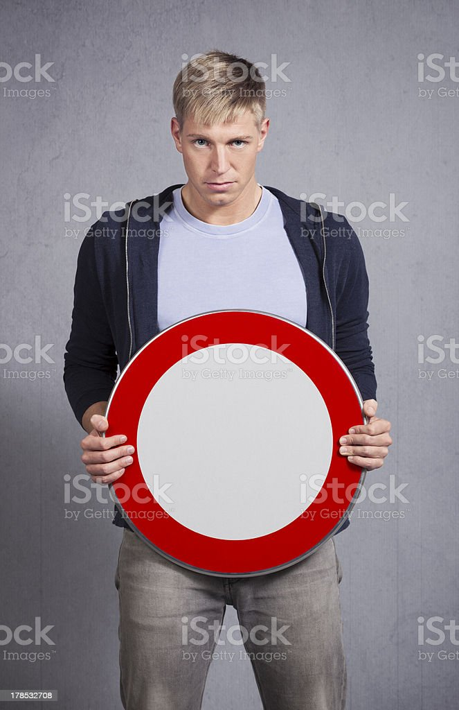 Man showing universal forbidden sign. royalty-free stock photo
