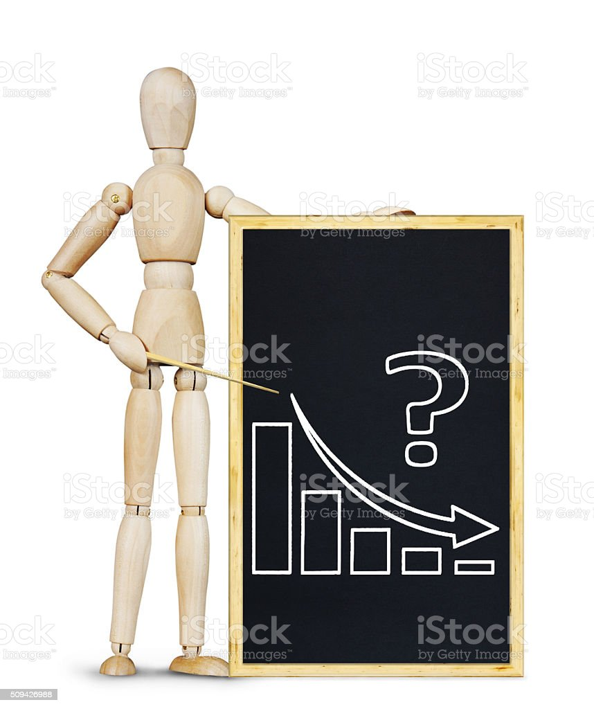 Man shows a graph of decrease stock photo