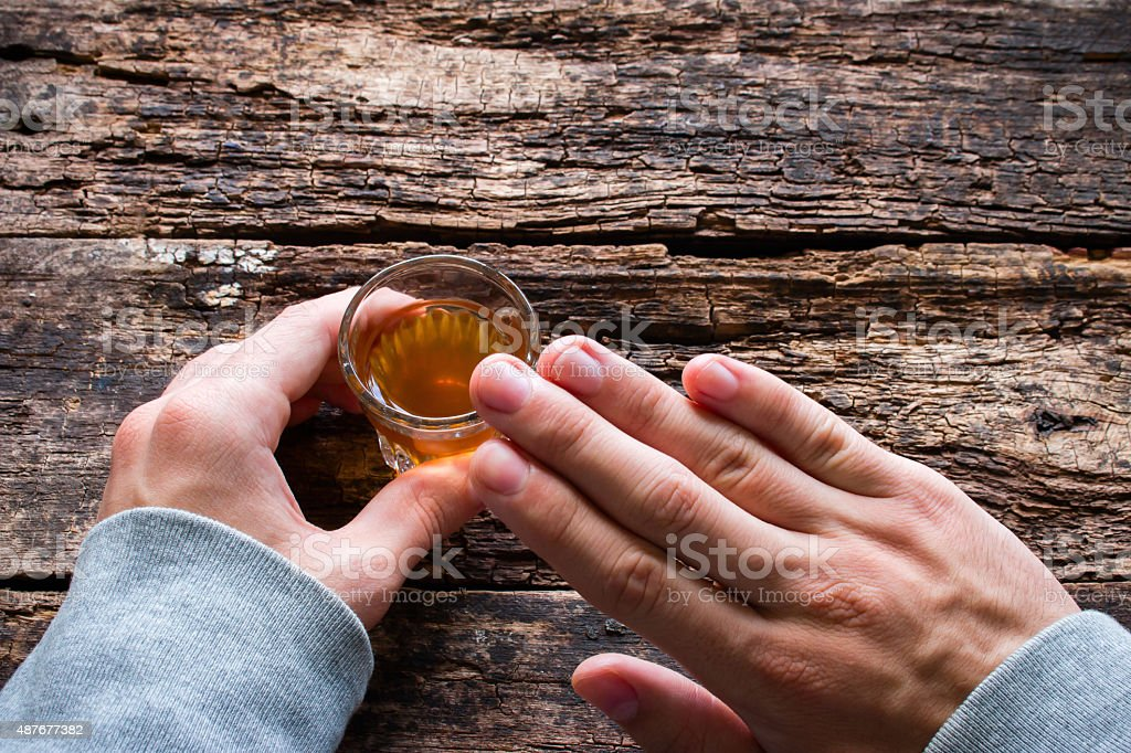 man shows abstinence from alcohol stock photo
