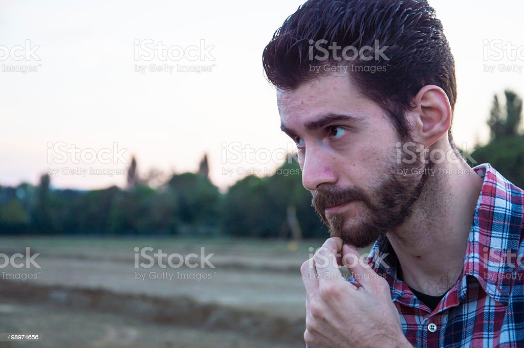 Man shows doubts stock photo