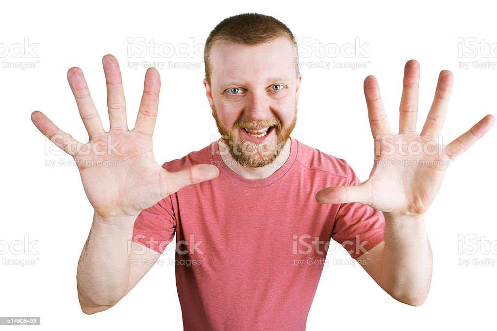 Man shows two hands with fingers stock photo