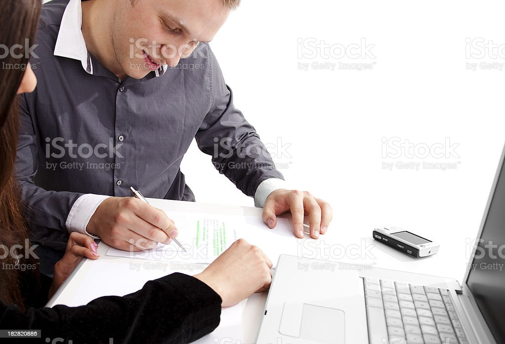 Man signing a contract royalty-free stock photo