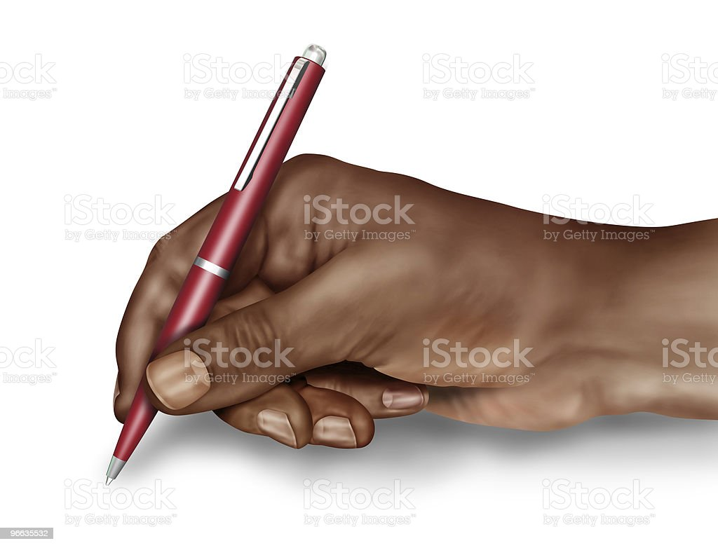 Man signing a document stock photo
