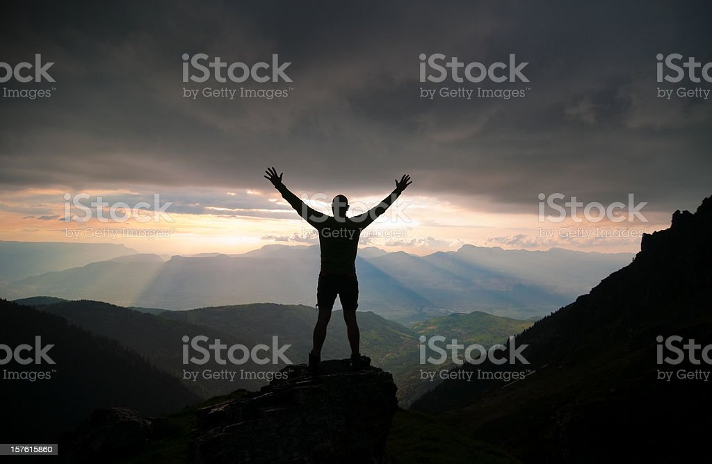 Man Silhouette against Spectacular Nature Sunset royalty-free stock photo