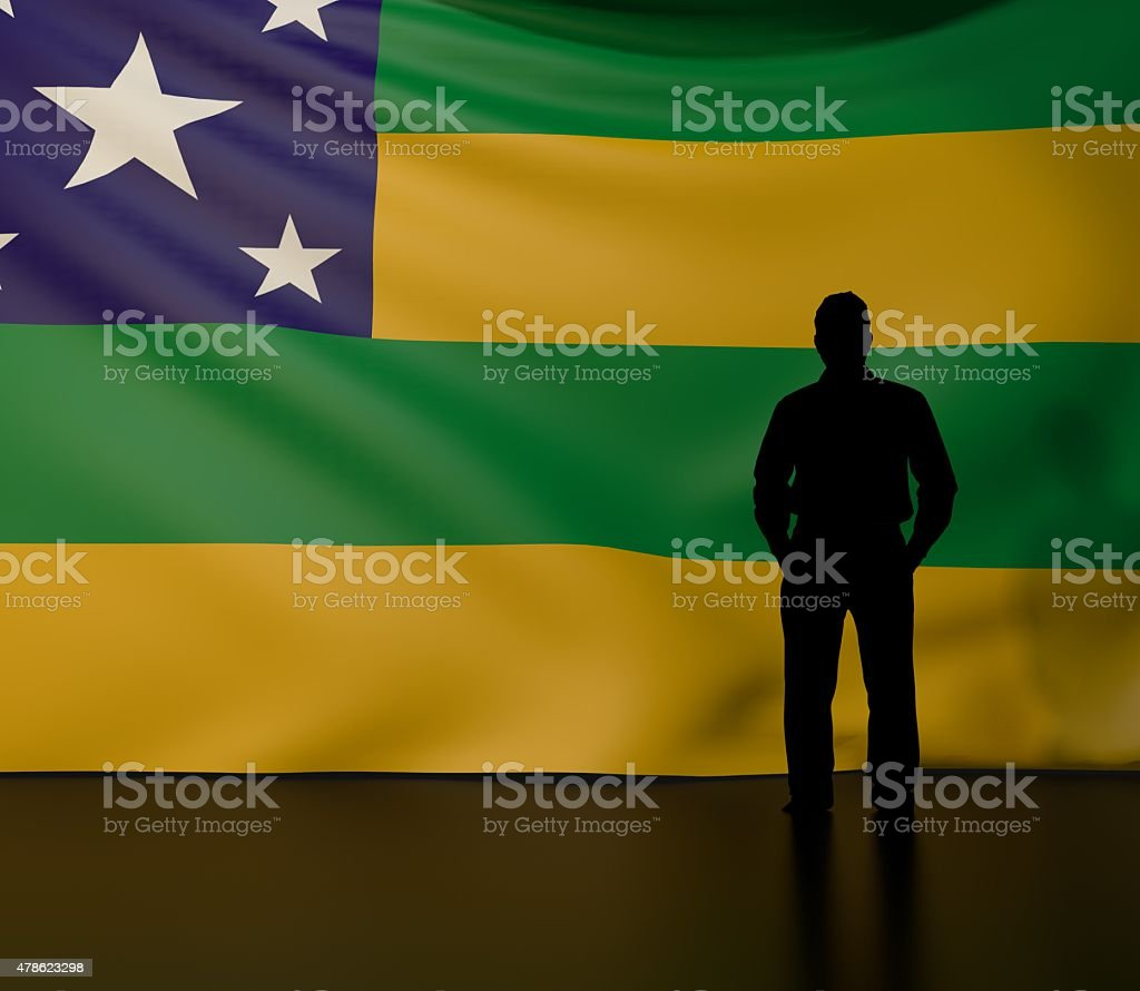 Man silhouette in front of the Sergipe state flag vector art illustration