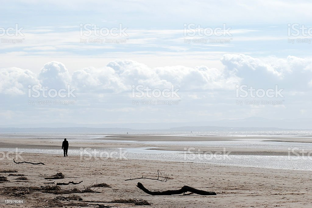 Man silhouette on the beach royalty-free stock photo