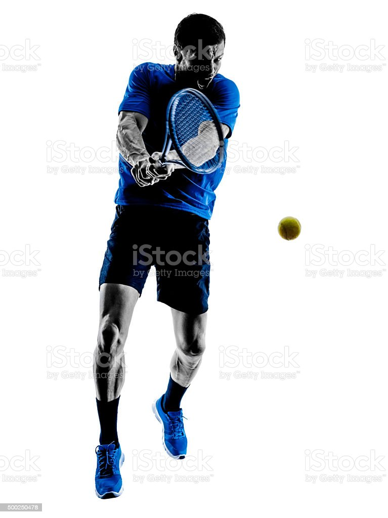 man silhouette playing tennis player stock photo
