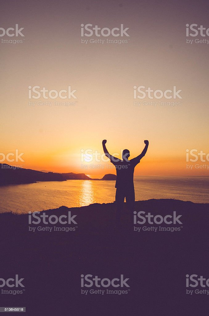 Man Silhuette - Sunset in Spain stock photo