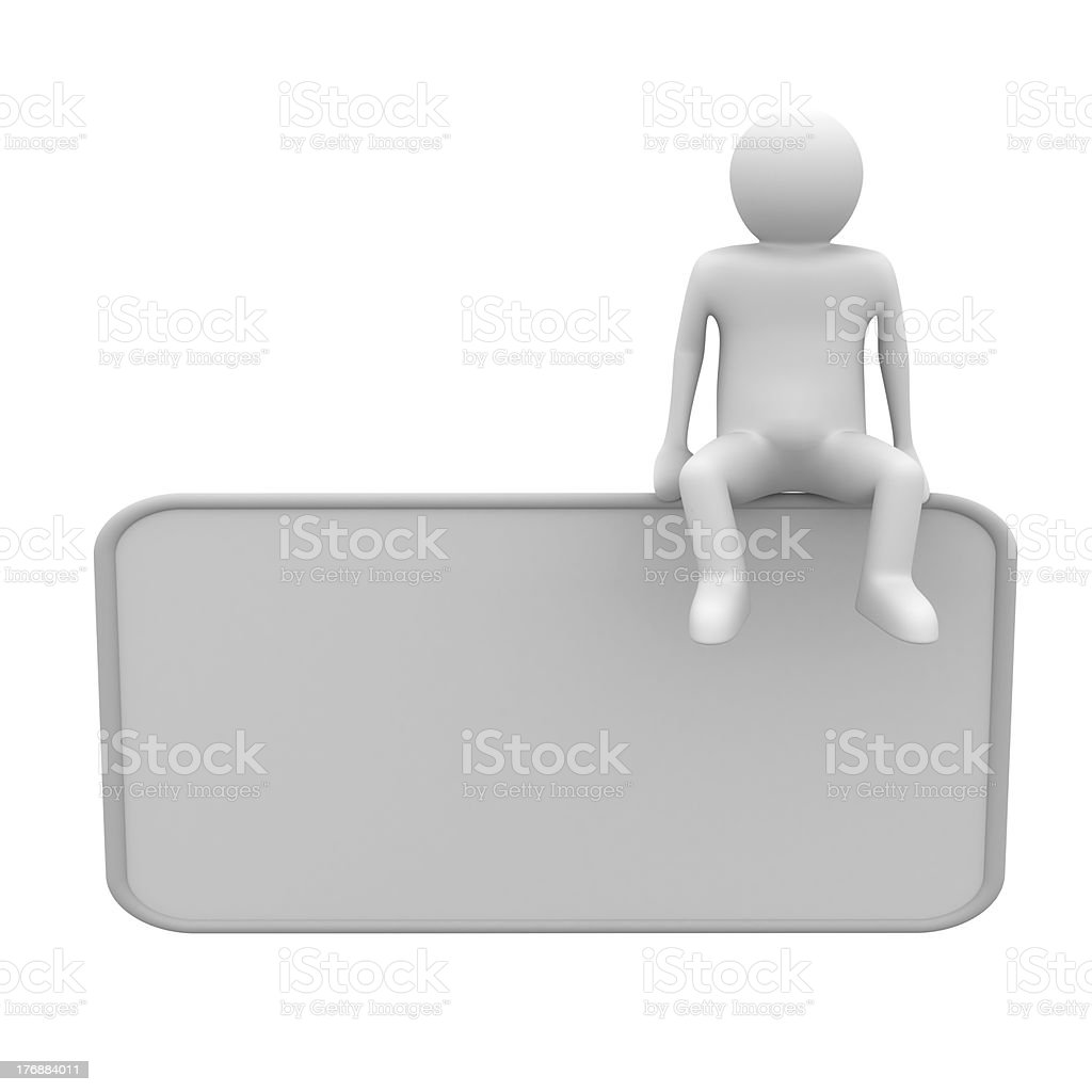man sits on poster. 3D image royalty-free stock photo
