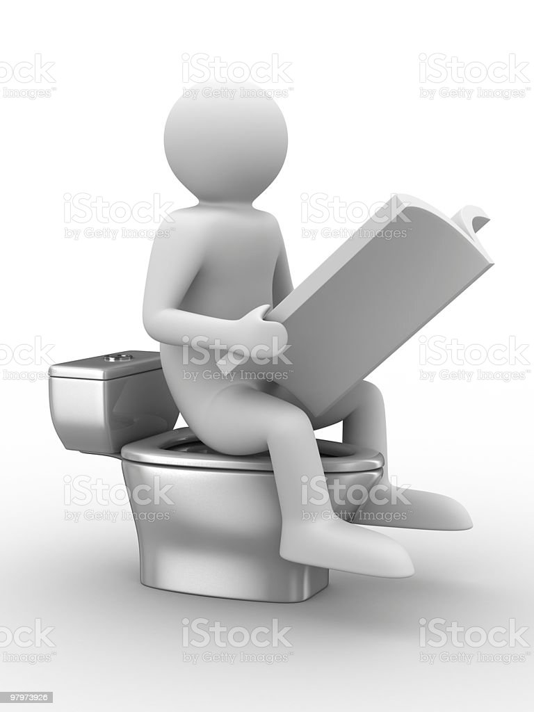man sits on toilet bowl with magazine. Isolated 3D image royalty-free stock photo