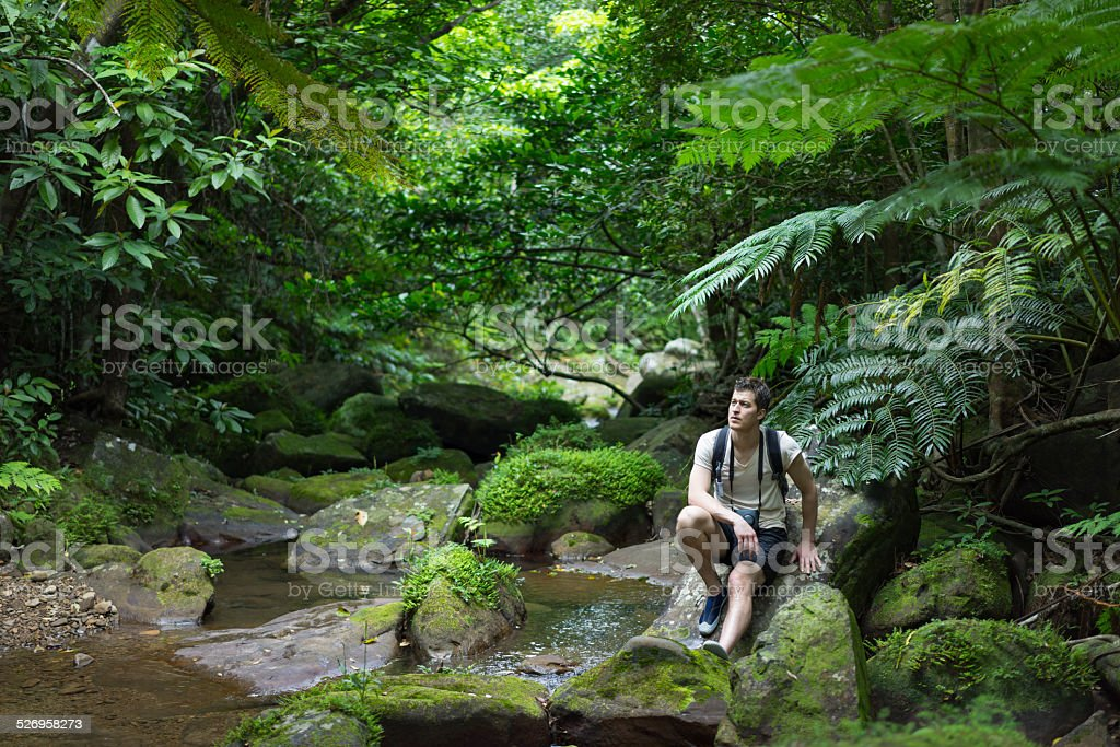 Mann sitzen und Träumen von in einer idyllischen tropischen Dschungel-Motiv Lizenzfreies stock-foto