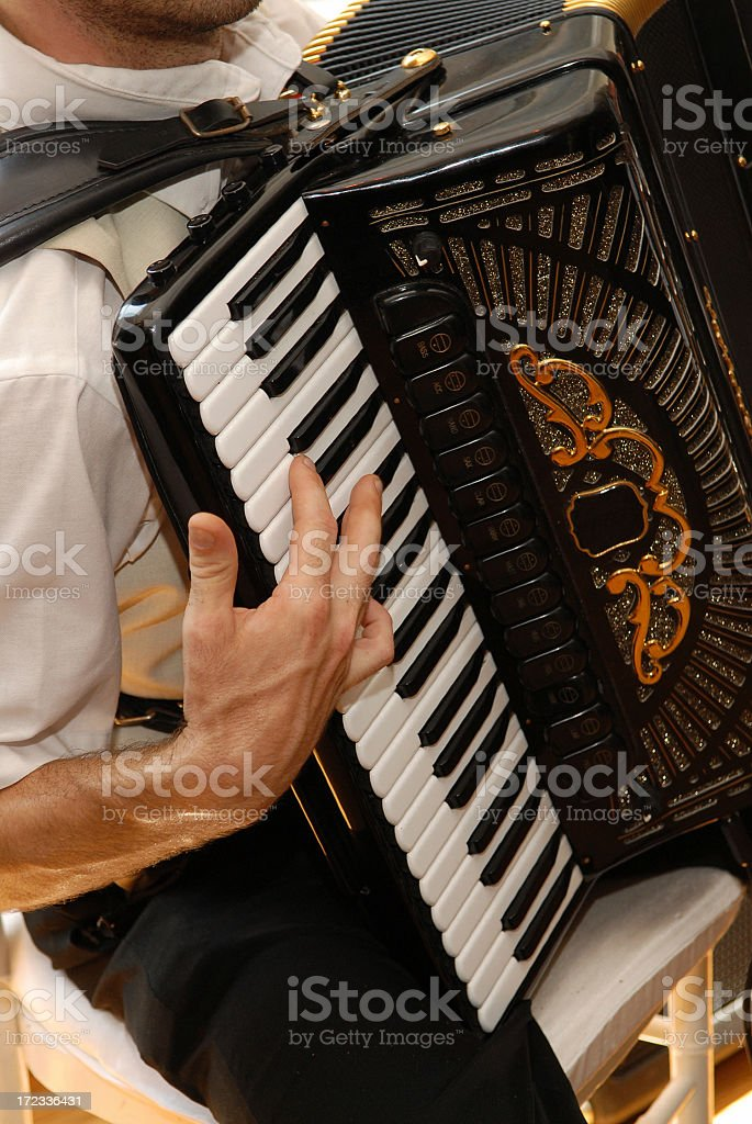 Man sitting and playing vintage accordion royalty-free stock photo