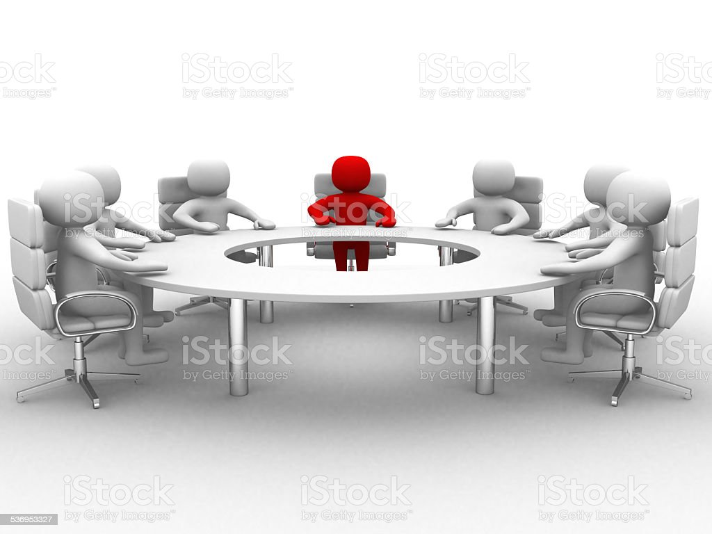 3D man sitting at a round table and having meeting stock photo