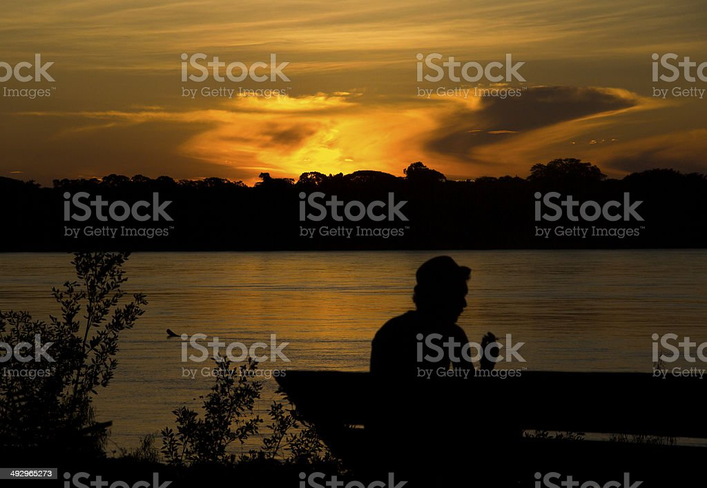 Man Sitting in the Jungle Sunset stock photo