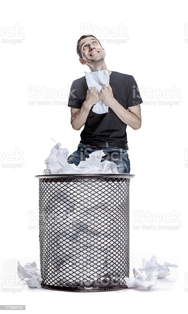 man, sitting in the rubbish bin royalty-free stock photo