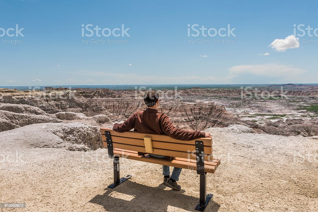 Man sitting on bench looking at eroded Badlands canyons stock photo