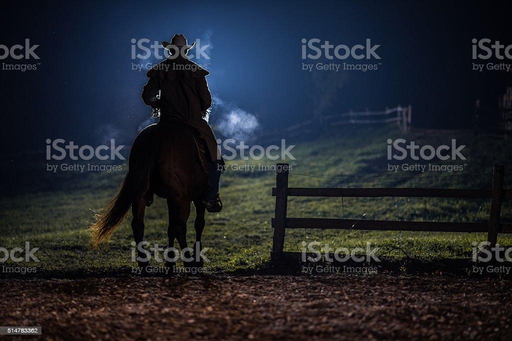 Man sitting on horse stock photo