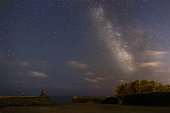 Man sitting under the starry sky