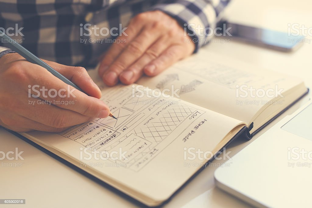 Man sketching graphic sketch stock photo