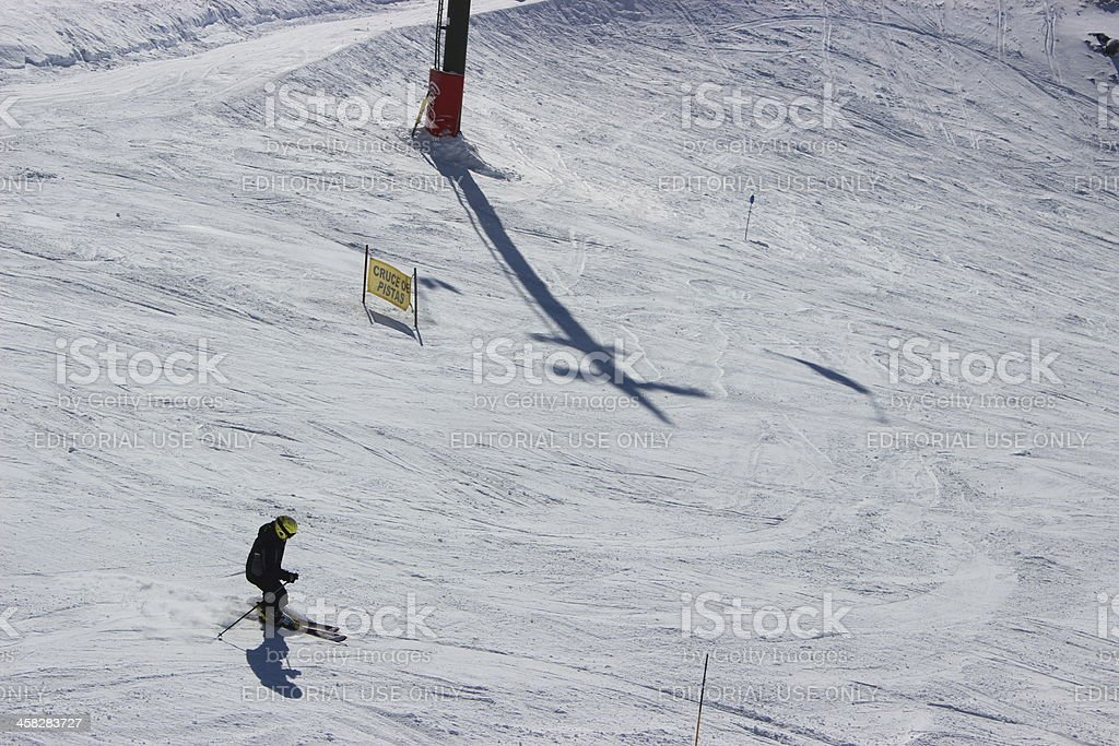Man skiing alone at ski station CERRO CATEDRAL royalty-free stock photo