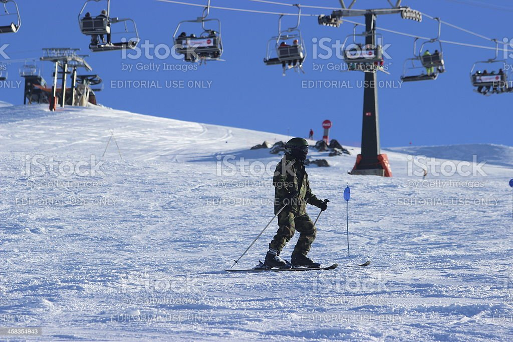 Man skiing alone at ski station CERRO CATEDRAL royalty-free stock photo