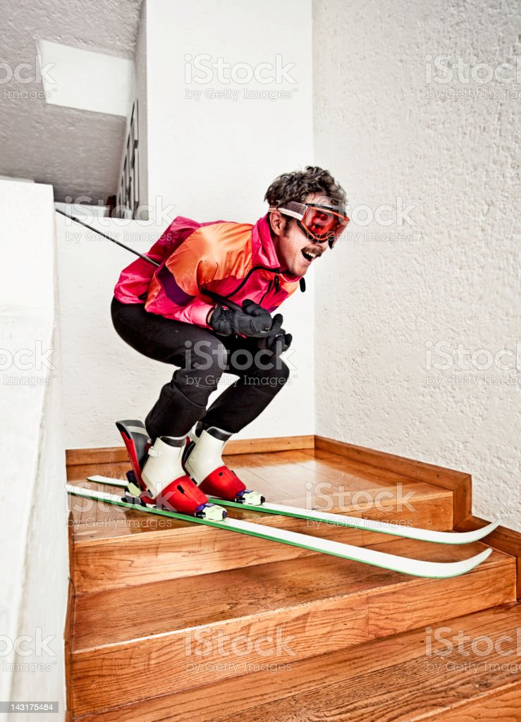 Man Skiing at Home royalty-free stock photo