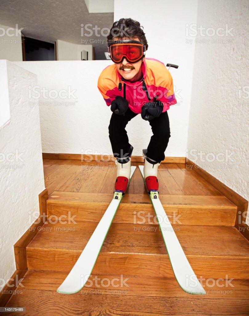 Man Skiing at Home stock photo