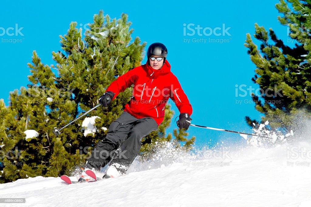 Man skiing fir trees stock photo