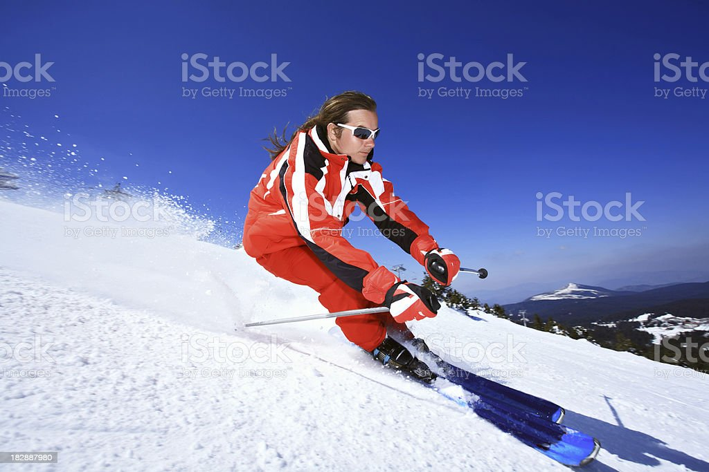 Man skiing on a slope. royalty-free stock photo