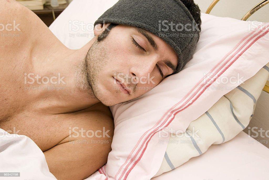 man sleep on the bed royalty-free stock photo