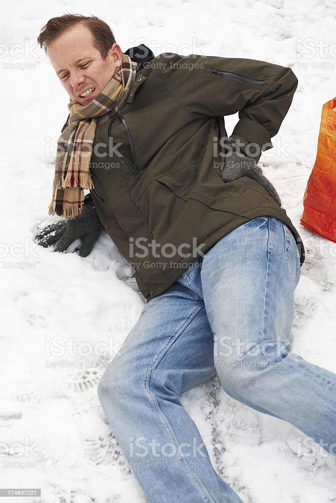 Man Slipping Over In Snowy Street stock photo