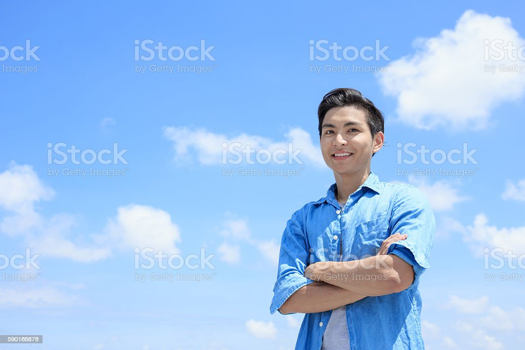 man smile happily to you stock photo