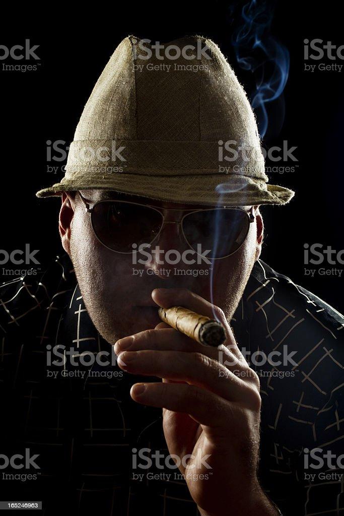 Man Smoking Cigar royalty-free stock photo