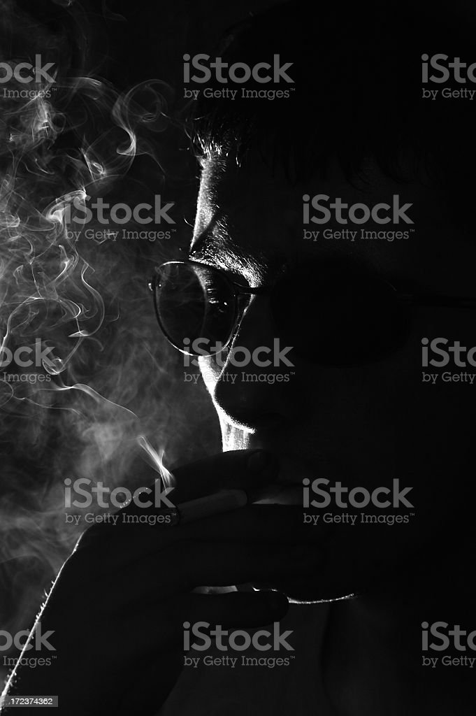 Man smoking cigarette royalty-free stock photo