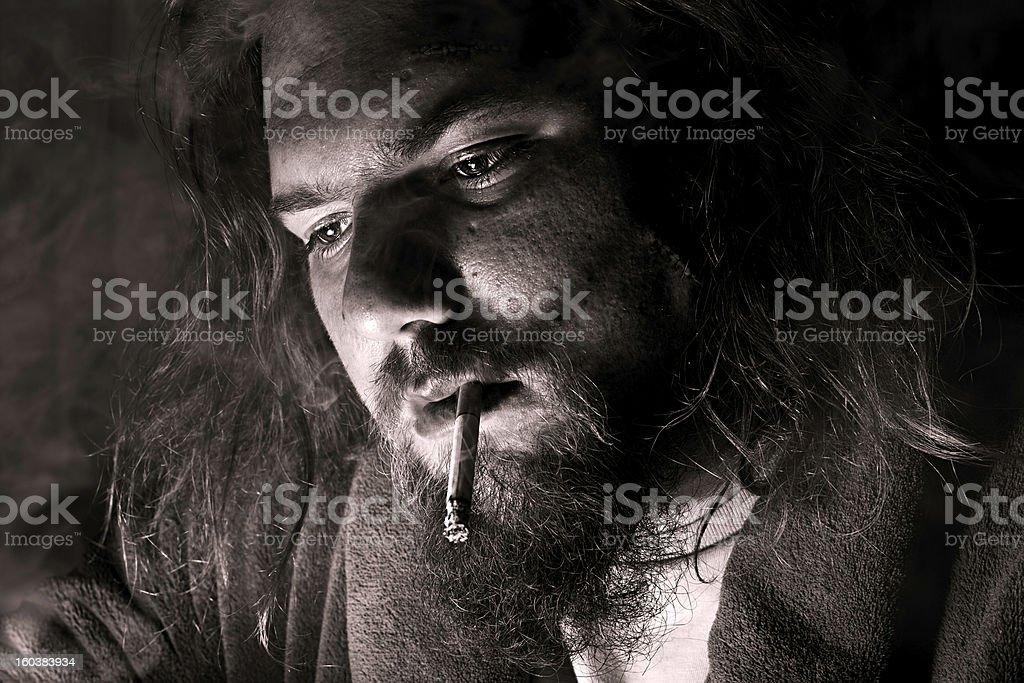 Man smoking close up royalty-free stock photo