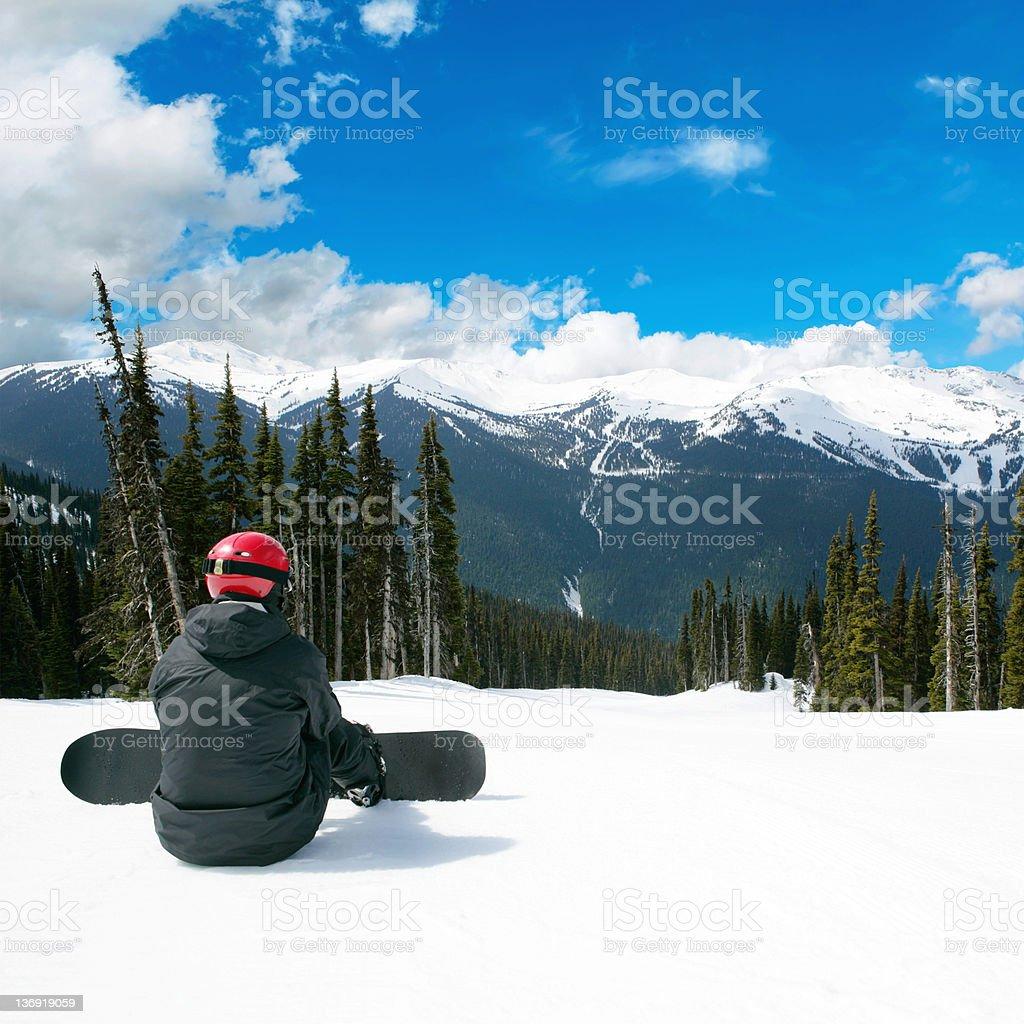 XXL man snowboarding royalty-free stock photo